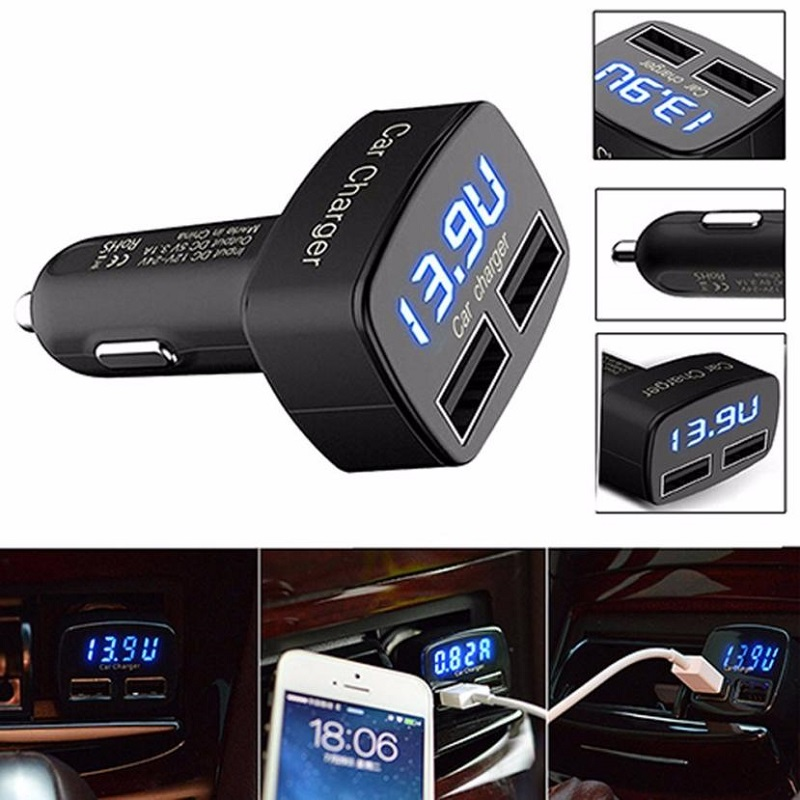 Car USB Socket 4 In 1 Dual USB Car Charger Adapter Voltage Tester
