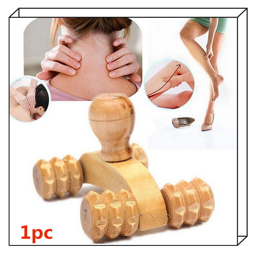 4 Wheels Wooden Body Rolling Massager Tool